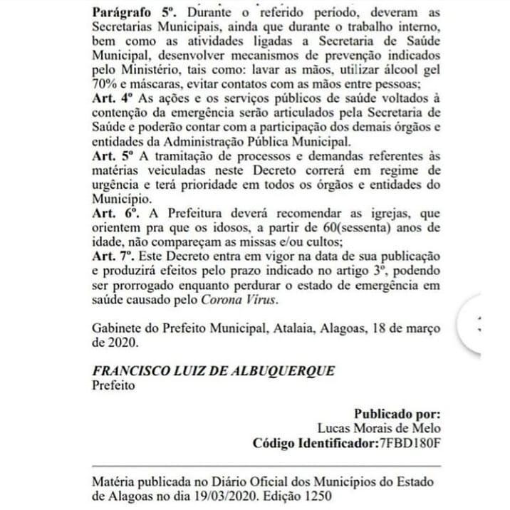 Prefeitura de Atalaia decreta medidas emergenciais para prevenção do coronavírus