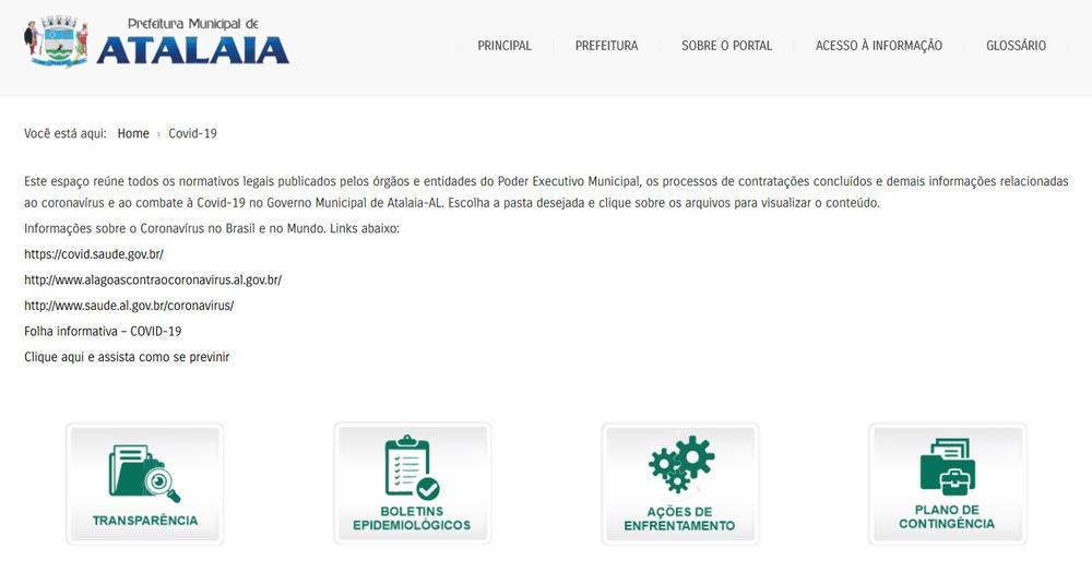 Portal da Prefeitura de Atalaia disponibiliza informações sobre receitas e despesas no enfrentamento ao coronavírus