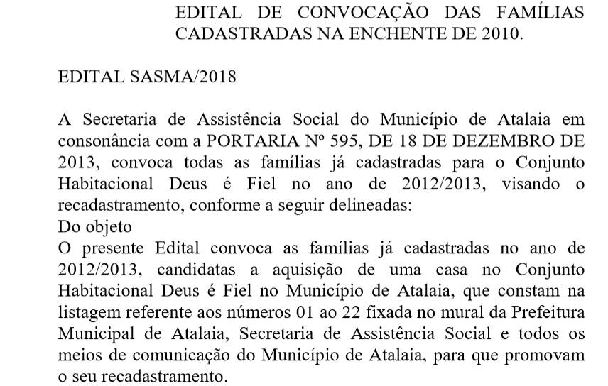 Diário Oficial desta quinta (10) traz convocação de 22 possíveis candidatos a uma casa no Conjunto Deus É Fiel