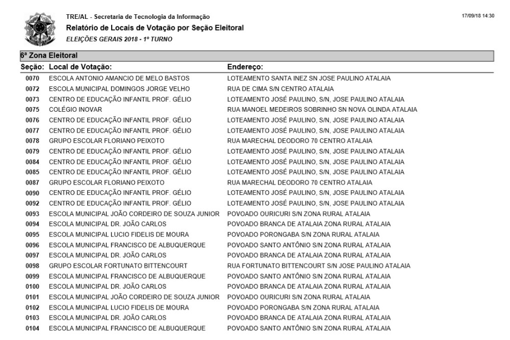 Confira os locais de votação de cada seção eleitoral em Atalaia