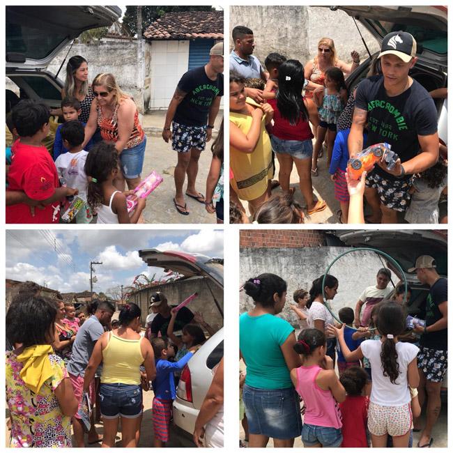 Júnior Vigário distribui brinquedos e faz a alegria de crianças do Distrito Santo Antônio
