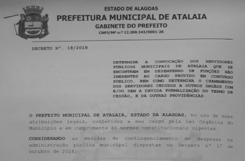 Prefeitura de Atalaia: Servidores cedidos ou em desvio de função devem se apresentar