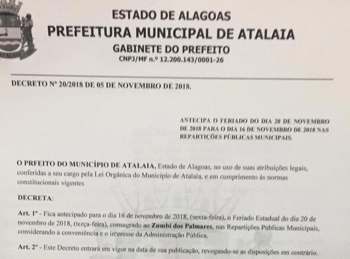 Prefeitura de Atalaia antecipa feriado da Consciência Negra para o dia 16 de novembro