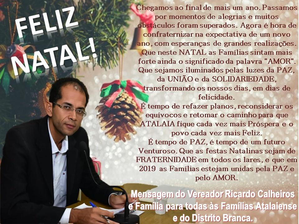Mensagem de Feliz Natal e Próspero Ano Novo.