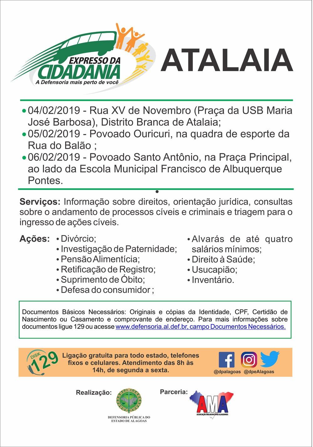 Atalaia recebe serviços do Programa Expresso da Cidadania no mês de fevereiro