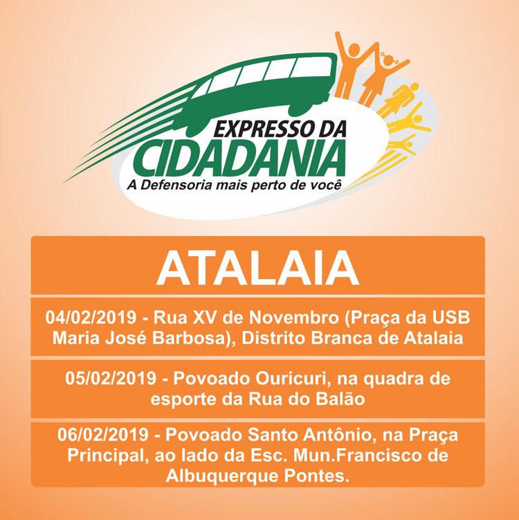 Atalaia receberá a primeira etapa do Programa Expresso da Cidadania em 2019.