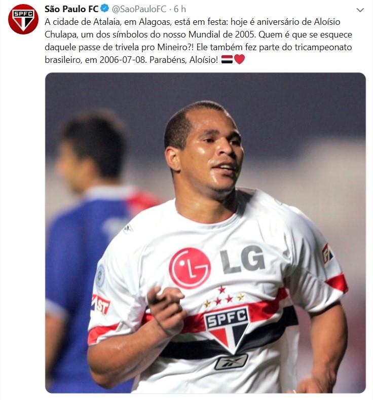 São Paulo parabeniza Aloísio Chulapa no aniversario do ex-jogador