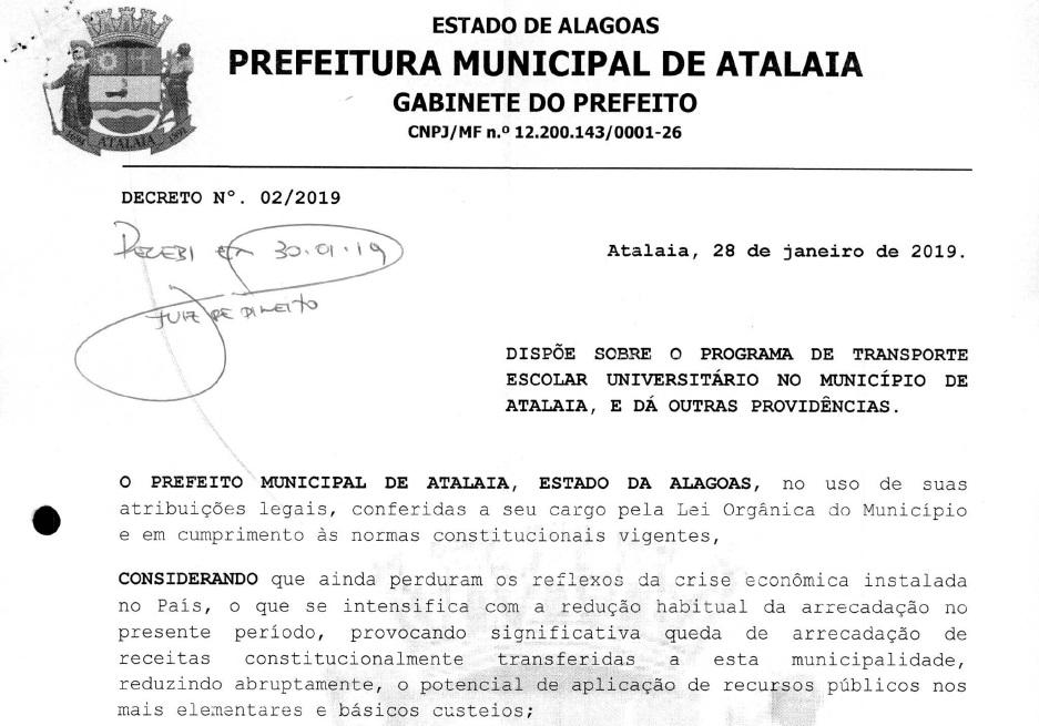 Em nota, Prefeitura afirma que garante o transporte à Maceió aos estudantes universitários que forem hipossuficientes