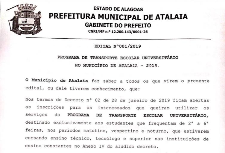 Prefeitura de Atalaia publica Edital para inscrição no Programa de Transporte Escolar Universitário