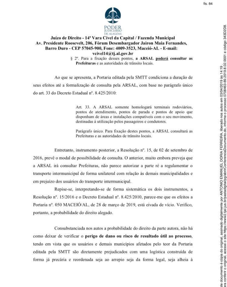 Deferida a Liminar na Ação Civil Pública movida pelo município de Atalaia em face da SMTT de Maceió