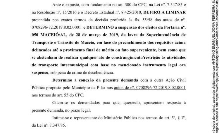 Prefeitura de Atalaia requereu liminar para suspender os efeitos da Portaria 050/2019 da SMTT de Maceió.