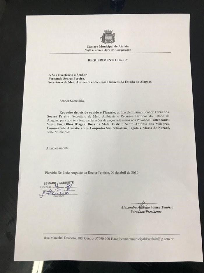 Vereador Alexandre Tenório solicita ao Secretário Fernando Pereira melhorias no abastecimento de água em Atalaia