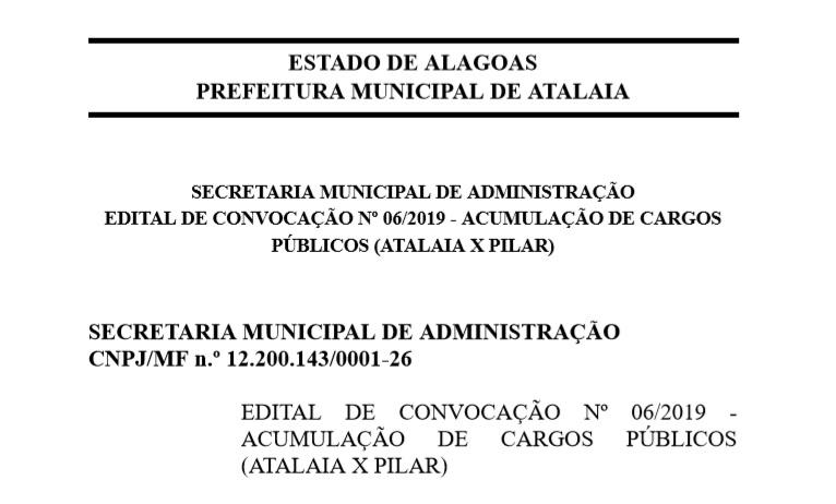 Prefeitura divulga Editais de Convocação Nº 04, 05 e 06 de 2019 com relação a acumulação de cargos públicos