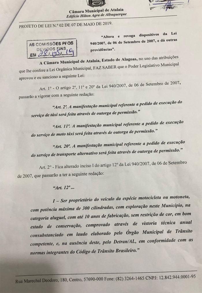 Câmara aprova em 1º turno Projeto do vereador Marcos Rebollo que beneficia os mototaxistas de Atalaia