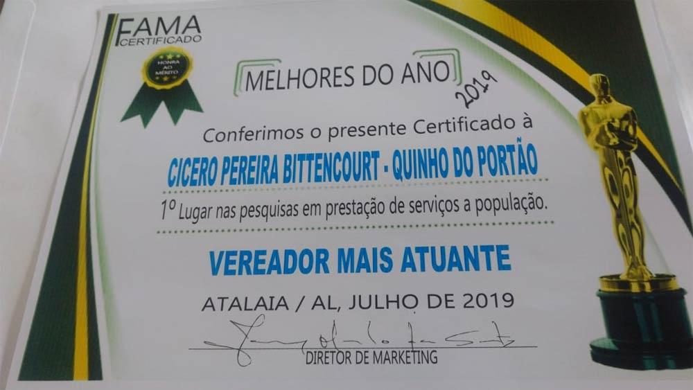 Certificado de Vereador Mais Atuante em 2019 foi entregue ao vereador Quinho.