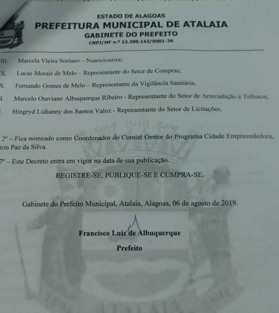 Decreto define os integrantes do Comitê Gestor do Programa Cidade Empreendedora em Atalaia