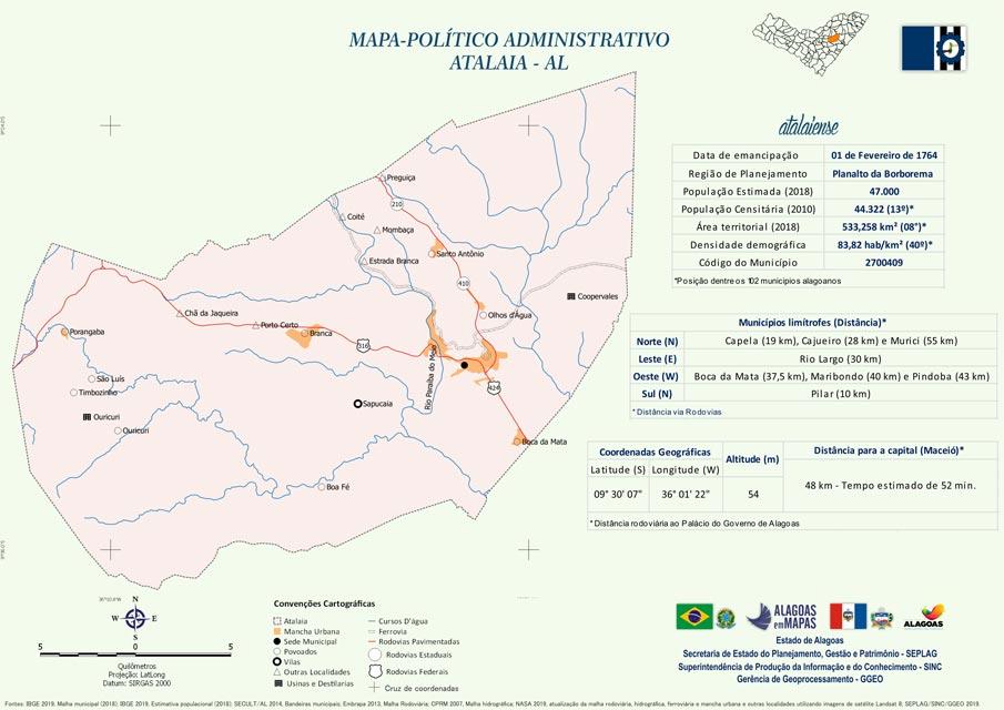 Mapa politico-administrativo do município de Atalaia.