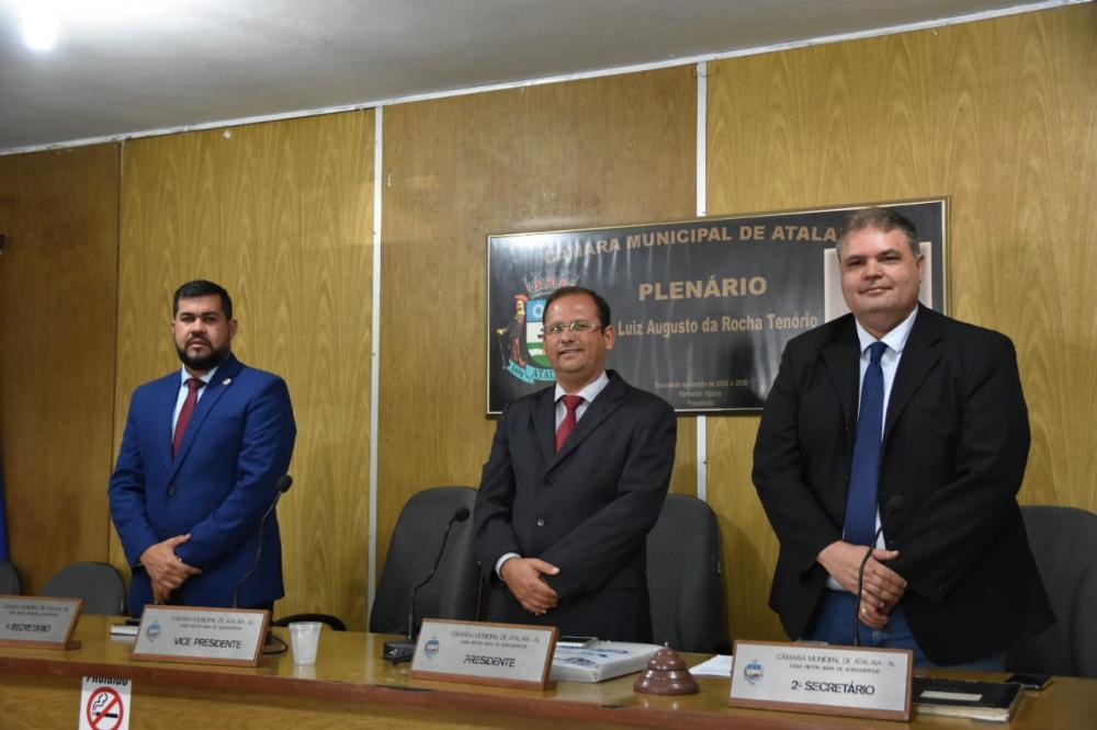 Vereador Marcos Rebollo, Presidente Vereador Alexandre Tenório e Vereador Fabricio Torres. Foto: Alberto Vicente.