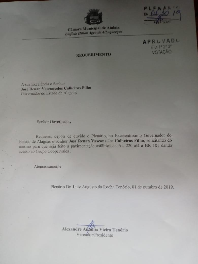 Vereador Alexandre Tenório solicita melhorias em estrada que dá acesso a Copervales