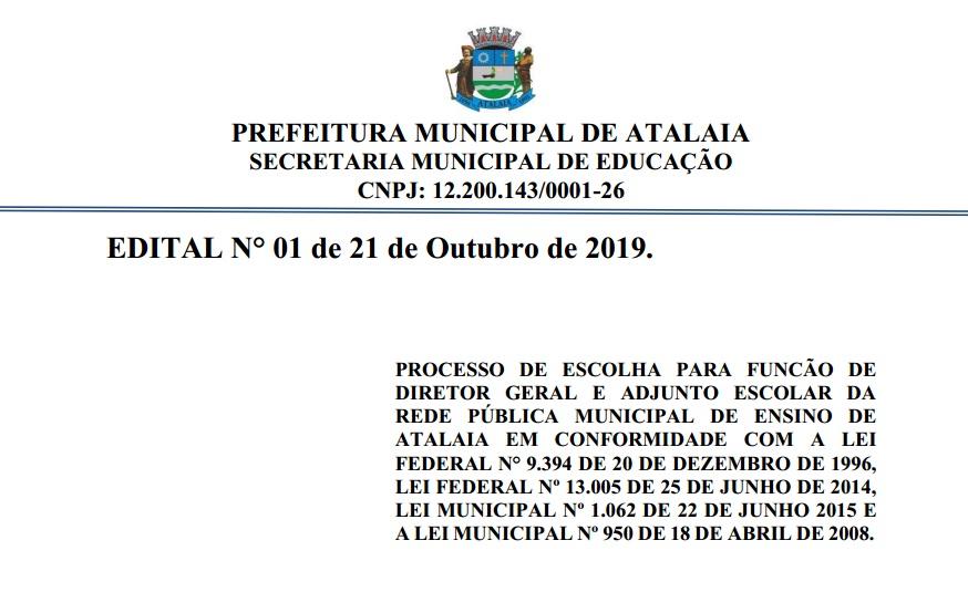 Educação divulga Edital para as eleições de diretores das escolas da rede municipal de Atalaia