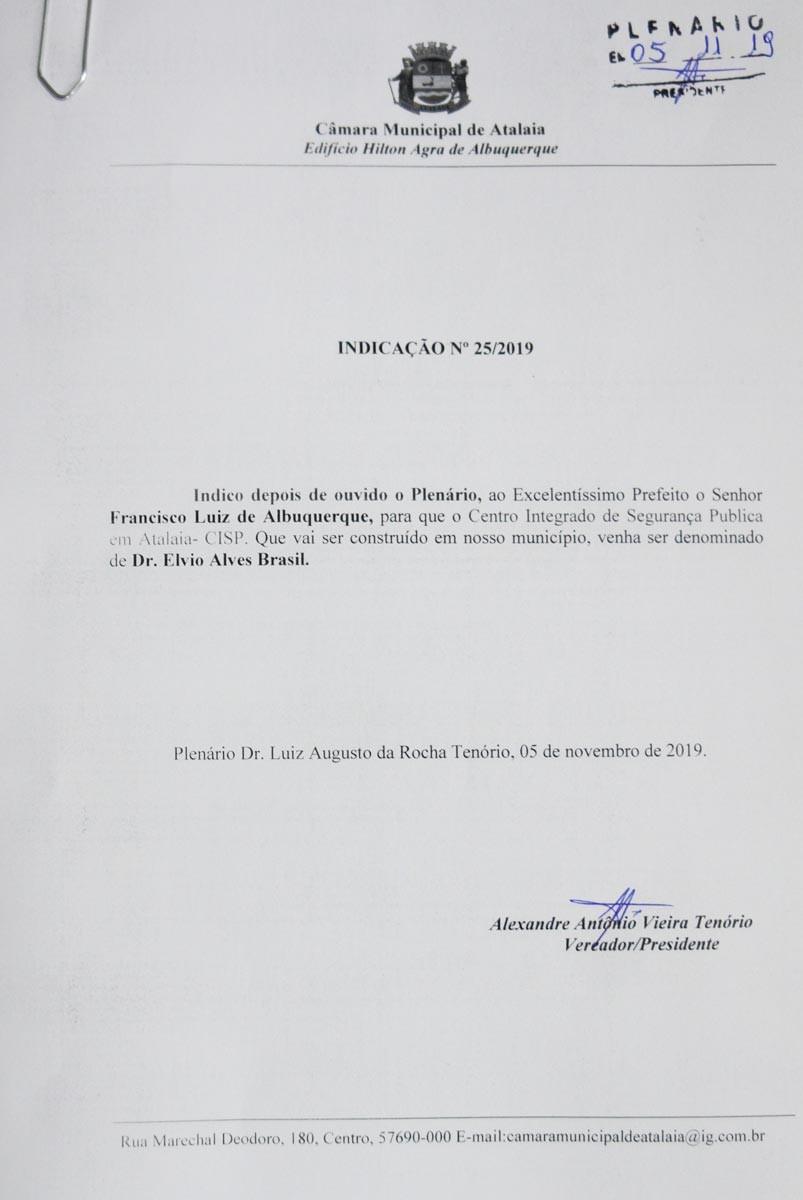 Alexandre Tenório propõe que CISP em Atalaia receba o nome do ex-vice-prefeito Dr. Elvio Alves Brasil