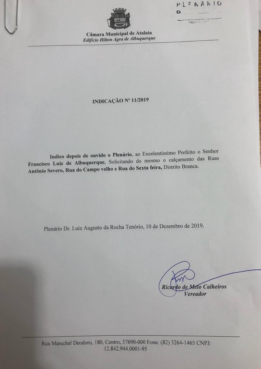 Ricardo Calheiros solicita ao governador o Pró-Estrada para a via principal do Distrito Branca