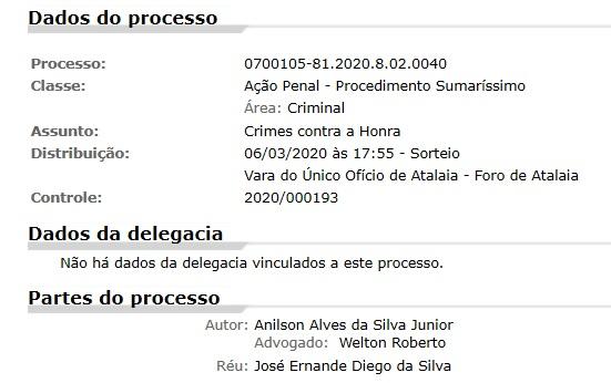 Processo consta no Portal do Tribunal de Justiça de Alagoas.